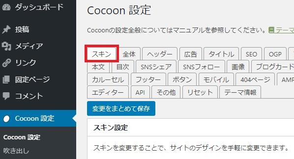 Cocoonスキン設定